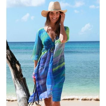 Aspiga | Ikat Splash Double V Dress Turquoise by Echo