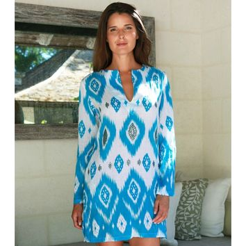 Aspiga | Island Ikat Sequined Tunic Azure by Echo