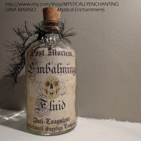 Embalming Fluid glass bottle 8oz by MYSTICALLYENCHANTING on Etsy