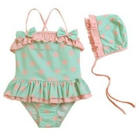 Vintage Inspired Girls Clothes Vintage Inspired One Piece polka dot swimsuit   Vindie Baby