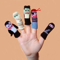 More Halloween Finger Puppet Set Includes Vampire by WeeKnit