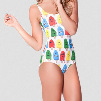 Fierce Multi-Color Pospicles Black Milk Print One Piece White Swimsuit