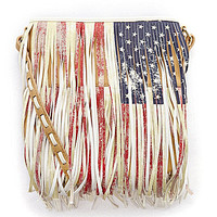 Steve Madden Flag Print Fringe Cross-Body Bag | Dillards.com