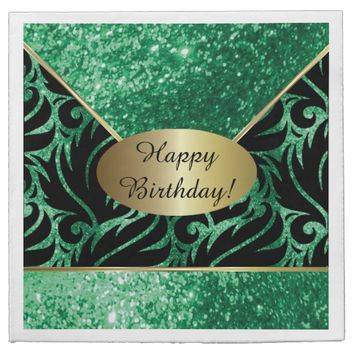 Green Glitter Designer Background Napkins