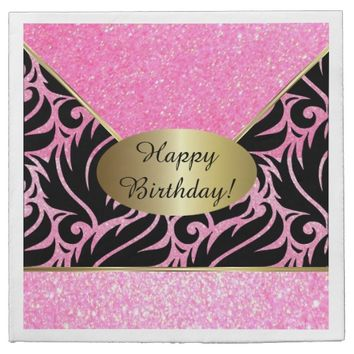 Pink Glitter Designer Background Napkins