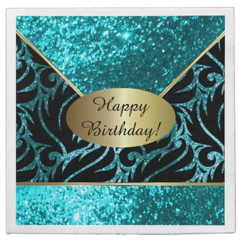 Turquoise Glitter Designer Background Napkins