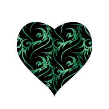 Glittery Green Heart Party Stickers