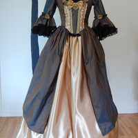 Green to Brown Silk and yellow satin Steampunk Goth Queen Marie Antoinette Victorian inspired rococo costume dress