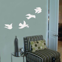 set of 4 DOVE Peace Love Bird vinyl wall art by greatwallsoffire