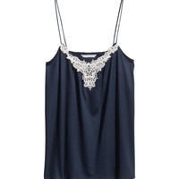 H&M - Tank Top with Lace - Dark