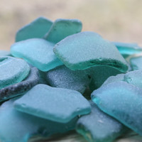 Dark Teal - Emerald MEDIUM Sea Glass Bulk Beach Glass Bulk