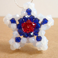 Star Pendant Necklace Red White Blue Swarovski by Elegencebyelaine