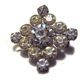 Diamond Shape Vintage Rhinestone Brooch Pin