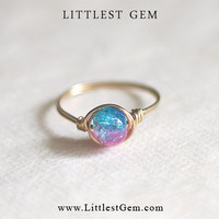 Cotton Candy Ring - unique rings - wire wrapped jewelry handmade - custom ring - galaxy ring