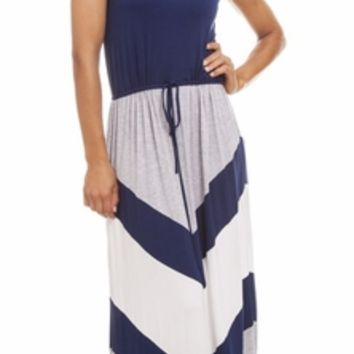 Navy Blue & Grey Maxi Dress