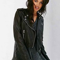 Members Only High/Low Leather Moto Jacket - Black