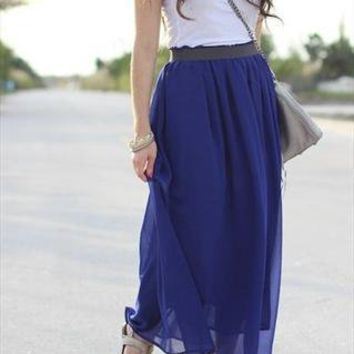 Romantic Blue Chiffon Maxi skirt