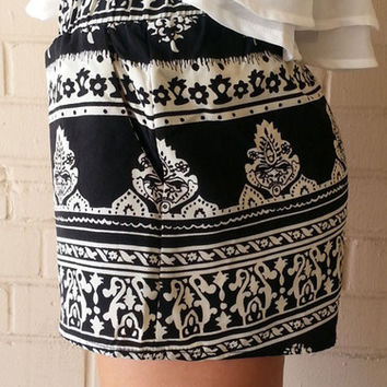 Aztec Print Shorts - Black | ZOE Boutique