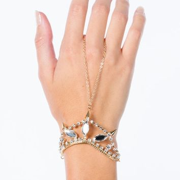 Faux Jewels 'N Spikes Hand Bracelet