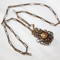 Vintage Copper Necklace Abstract Pendant 1950s Jewelry Bib