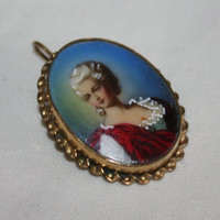 Antique 12kt GF Portrait Brooch Pendant Hand Painted Porcelain 1910s Jewelry