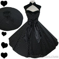 New Pinup Retro Full Circle Skirt Dress White Polka Dots on Black