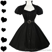 New Black Belted Full Skirt Puff Sleeve Retro Tent Swing Party Dress