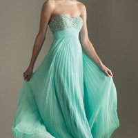 2012 Prom Dresses! Night Moves Heavenly Aqua Pleated Empire Waist Dress- Size 0-18 - Unique Vintage - Cocktail, Evening, Pinup Dresses