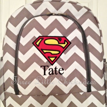 Grey Chevron Zig Zag Superman Applique Backpack FREE Personalization Book Bag Overnight School Swim Sports Birthday Ring Bearer Boy Girl