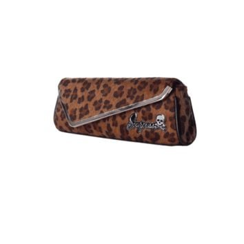 Put on your dancing shoes and get ready to party! This leopard clutch with asymmetrical envelope closure features Sourpuss Hardware and a satin lining.