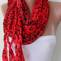 Red Leopard Scarf with Node Edge by SwedishShop on Etsy