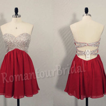 Hot Wine Red Prom Dress Short Prom Gown Beaded Chiffon Ball Gown Sexy Low Back Prom Dress Party…