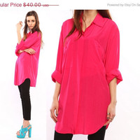 hot pink blouse shirt // neon // Vintage 90s // by shopCOLLECT