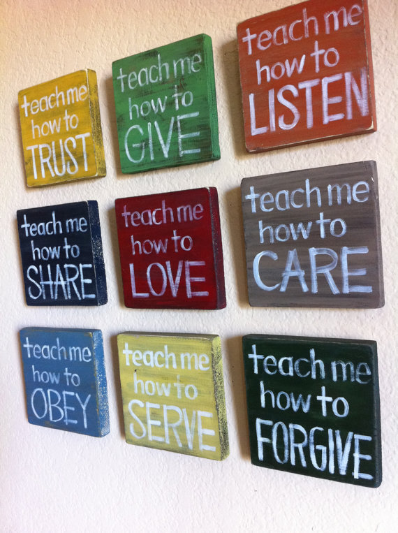 Christian Art SET of Any 3 Teach Me Wood Blocks by graceforgrace
