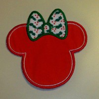 Handmade Minnie with Christmas holly bow applique  iron on patch | UniqueEmbroideries - Seasonal on ArtFire