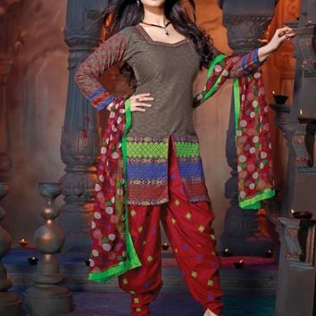 Fabulous Brown & Maroon Salwar Kameez - Manjaree - Brands