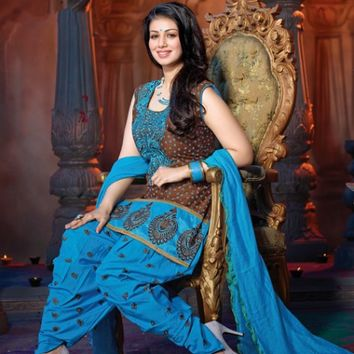 Brown & Blue Dazzling Salwar Suit With Printed Work - Manjaree - Brands