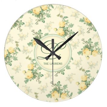 Personalized monogram wall clock yellow roses