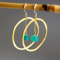 Kaleoaloha earrings  green onyx gold vermeil by kealohajewelry