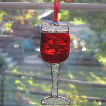 Wine Glass Stained Glass Suncatcher - Wine Decoration - Christmas Decoration - Bar Decor - Wine Glass Ornament