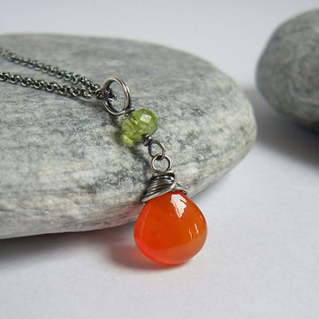 Carnelian Peridot Necklace, Orange Agate Briolette Pendnat On Sterling Silver Chain