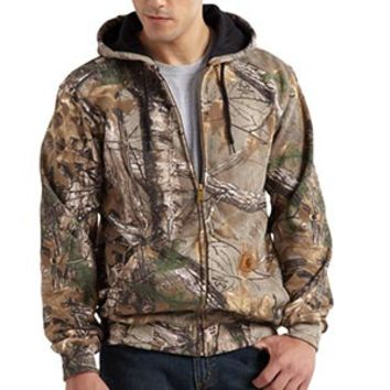 Carhartt Menx27s Realtree Xtra Work Camo Hooded Zip Front