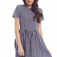Check Printed Skater Dress