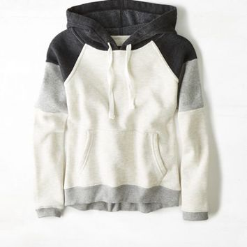 AEO Womenx27s Colorblock Hoodie Heather Grey