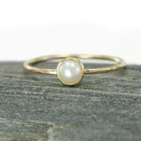 Scarlett Jewelry - Handmade Designer Jewels: White Pearl and 14k Gold Stacking Ring, Rings