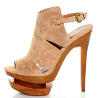 Jessica Simpson Cat Camel Suede Slingback Platform Heels - &amp;#36;109.00