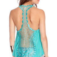 Tat Back Tank Top in Jade :: tobi