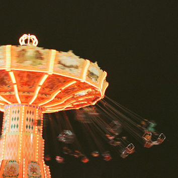 Carnival Photography Print, State Fair Photograph, Swing Ride Photo, Art Print, Colorful Home Decor, Wall Art, County Fair, Pink, Night Sky