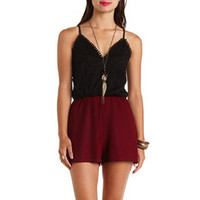 DEEP V LACE COLOR BLOCK ROMPER