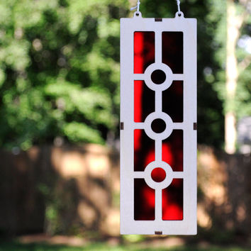 Geometric Suncatcher using Bright Red Acrylic and Wood Frame